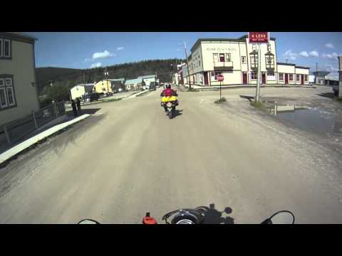 Riding through Dawson City, Yukon