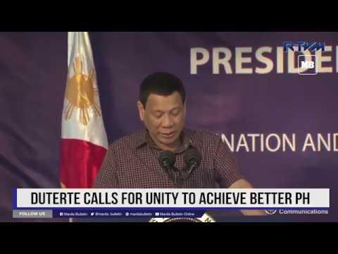 Duterte calls for unity to achieve better PH