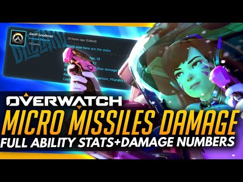 Overwatch | DVA MICRO MISSILES STATS - Damage Numbers, Cooldown & More