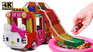 DIY How To Make Hello Kitty Bus With Inflatable Ball Pit Pool From Magnetic Balls | Magnet World 4K