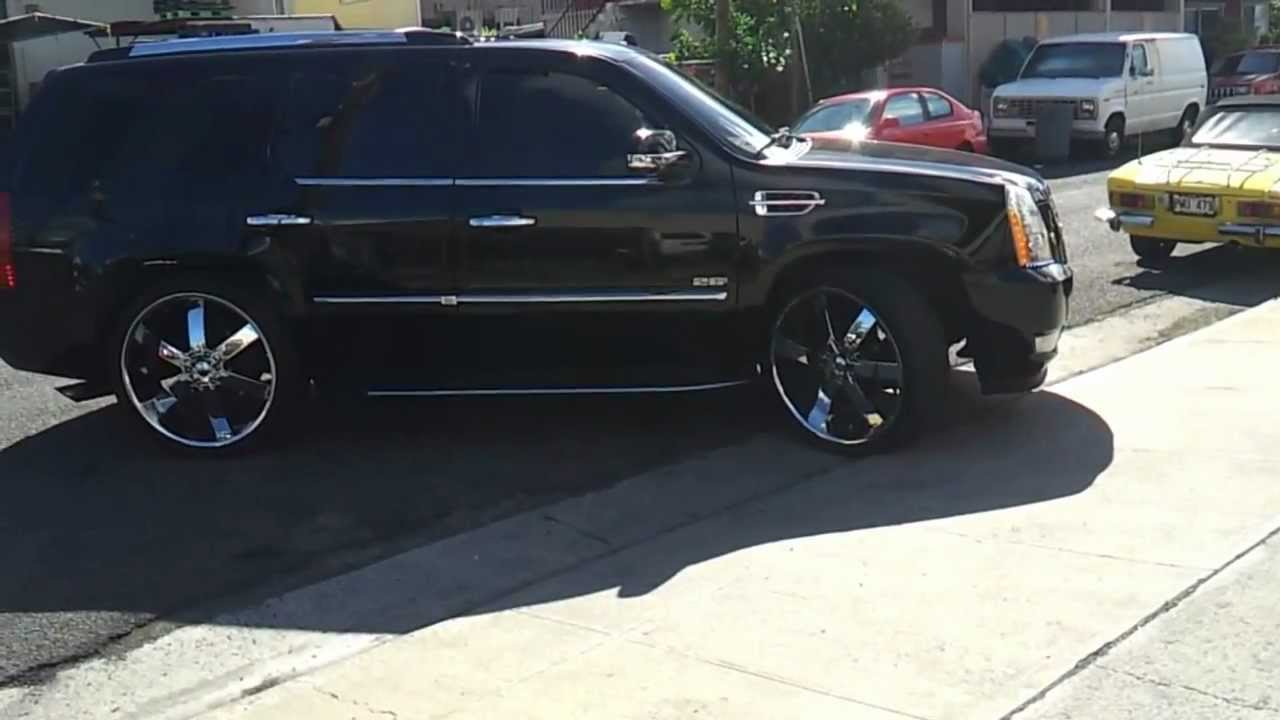 Cadillac Escalade Lowered On 26 S No Cut No Rub Youtube