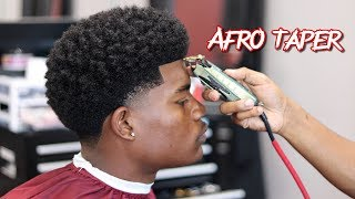 BARBER TUTORIAL:  AFRO TAPER | CURL SPONGE WITH SIDE PART