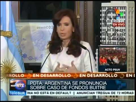 Cristina Fernández de Kirchner, Axel Kicillof contra fondos buitres. Argentina no está en default