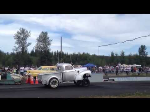 57' CHEVY VS. WILLYS PICKUP BILLETPROOF ERUPTION DRAGS TOUTLE, WA 2013