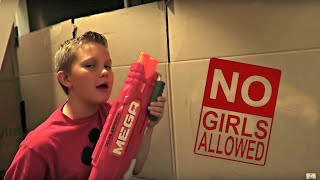 24 HOURS IN A BOX FORT! | NO GIRLS ALLOWED