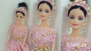 Barbie Doll DIY Party Dress With Pearl Jewellary   CraftLas