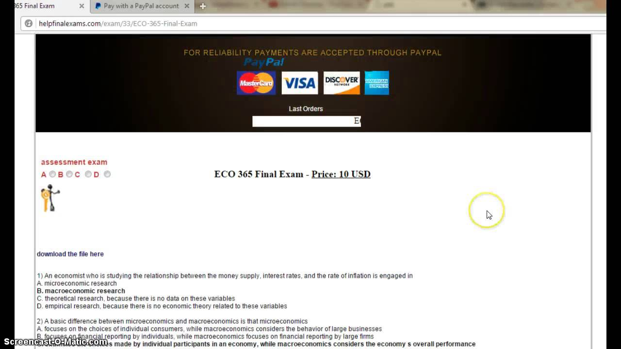 eco 365 final exam with answers essay Essays - largest database of quality sample essays and research papers on eco 365 final exam answers.