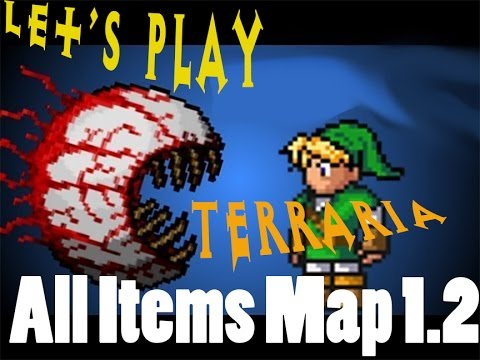 Let's Play Terraria - 1.2 Xbox 360 - Review v6.2 All Items Map!