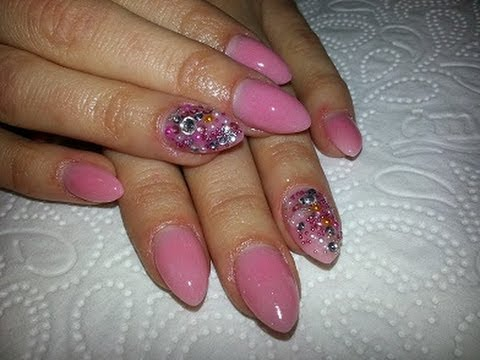 nude almond shaped acrylic nails  youtube