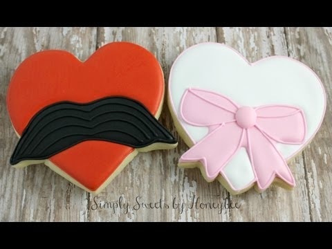 Mustache and Bow Heart Cookies