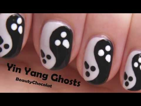 Yin Yang Ghosts Halloween Nail Art - Halloween Nail