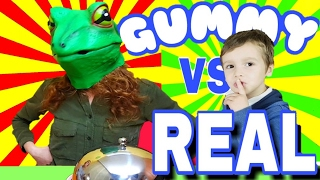 GUMMY FOOD VS REAL AND FROG PETS DISGUISE SURPRISE