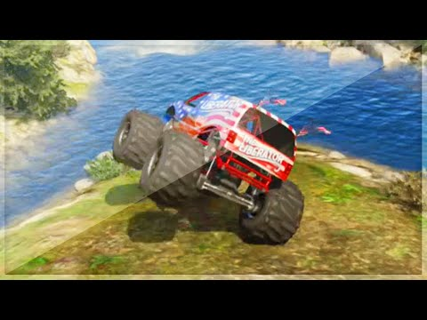 Gta 5 Funny Moments - How To Use A Monster Truck - (gta V Online Games Stunts) video