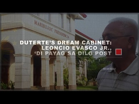 Duterte's Dream Cabinet: Evasco, 'Di Payag sa DILG Post