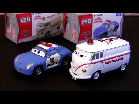 Tomica Cars Sally Police Car Fillmore Ambulance Rescue Go! Go! From Takara Tomy Disney Pixar
