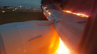 Jet catches fire during emergency landing