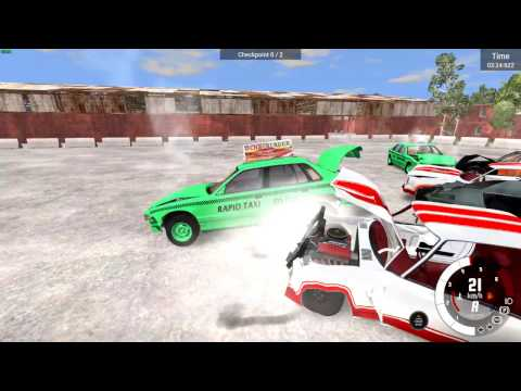 BeamNG.Demolition - Turbo Burger's Rapid Taxi - Gets there pretty darn hot!