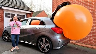 Giant Balloon Stuck In Our Car - Surprise Toys For Kids - Disney Toys Shopkins Num Noms