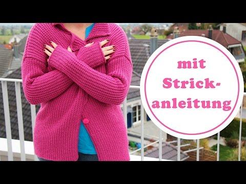 Strickjacke Mauve mit Reverskragen und Daumenloch |  komplette Anleitung
