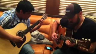 Zac Brown and Lucas White jamming out (improvising) on the bus.