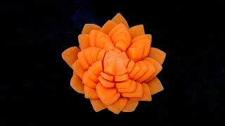 A Unique Carrot Lotus Simple Flower - Beginners Lesson 77 - Special Design By Mutita Art Of Fruit Ve