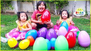 Ryan Pretend Play Easter Huge Surprise Eggs Hunt and Open Toys!!!