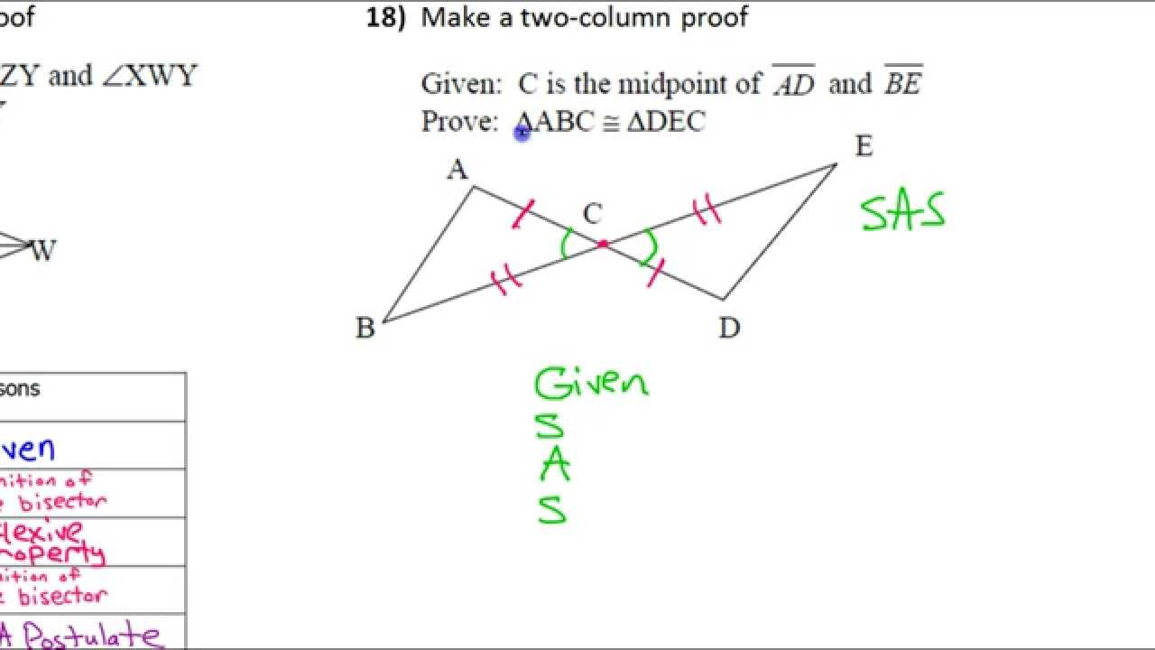 Arcadia high school geometry files hw 18 worksheet two column proofs 2 p