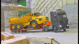 Fantastic RC Transport Volvo A45G! Heavy rc live action models! Komatsu machines awd & mercedes 2017