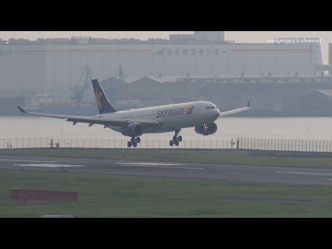 Skymark Airlines (SKY) Airbus A330-300 JA330D 羽田空港 着陸 2014.10.25