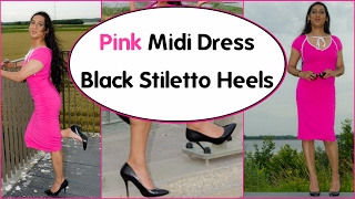 Crossdresser - pink midi dress and simple black stiletto high heels | NatCrys
