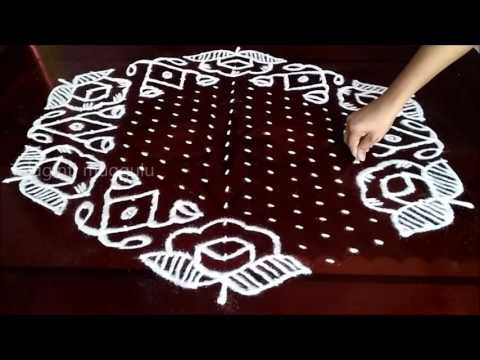 Rose Flowers kolam designs with 21 - 11 middle | chukkala muggulu with dots| rangoli design