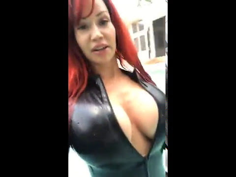 Bianca Beauchamp In the Pool With Latex Catsuit