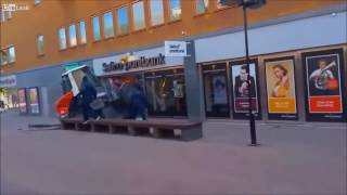 Daylight bank robbery in Sweden.