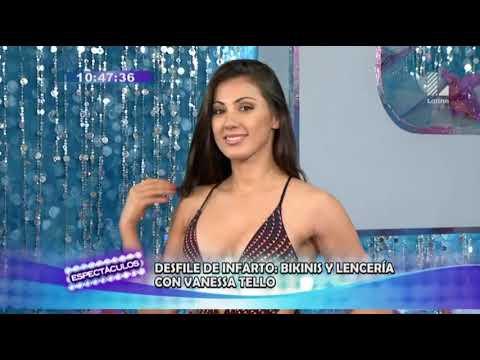 Vanessa Tello presenta bikinis y lencería en un desfile de infarto