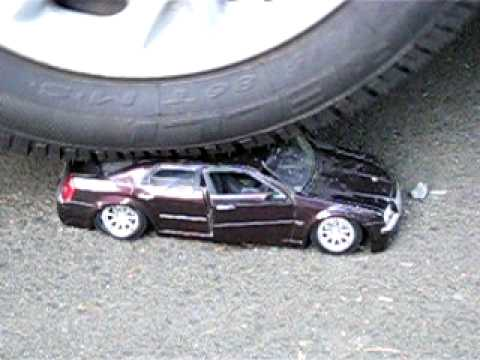 Toy Model Chrysler 300C Crushed by Another Vehicle
