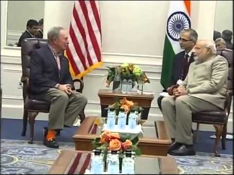 PM Modi meets the former New York Mayor, Mike Bloomberg
