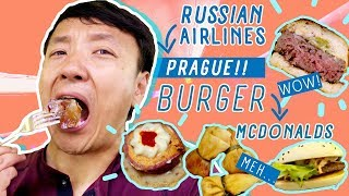 Russian Airlines Business Class, INSANE BURGER & McDonalds In Prague!