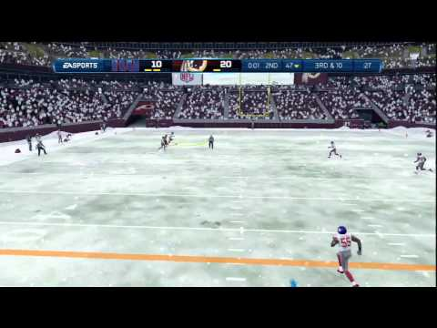 Madden 13:1ST GAMEPLAY W/SNOW WEATHER-REDSKINS VS GIANTS-ONLINE GAMEPLAY