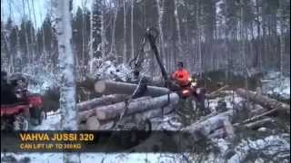 Vahva Jussi log crane and timber trailer
