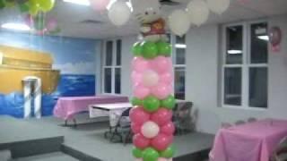 Decoracion con globos de hello kitty