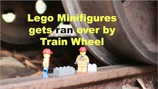 Lego Minifigures get ran over by Train Wheel. 30,000 Sub Special