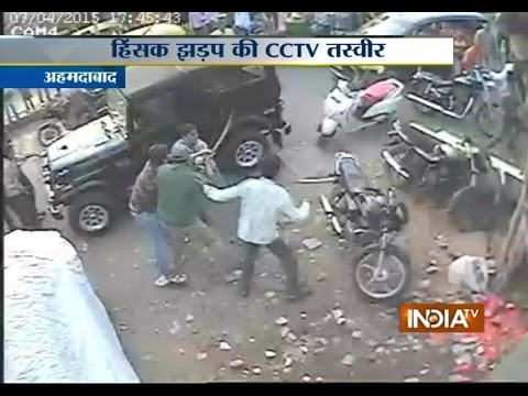 CCTV: Clash between two groups with swords in Ahmedabad