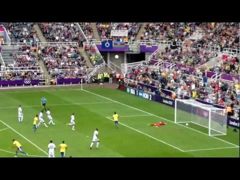 Neymar penalty at Olympic Games 2012 in Newcastle