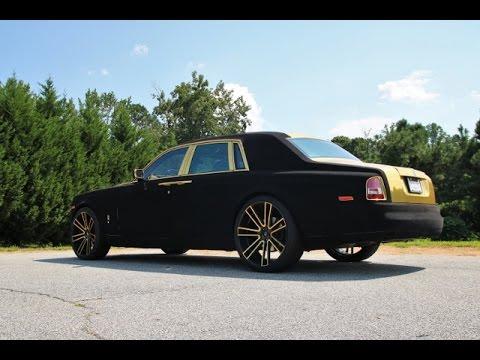 WhipAddict: Rolls Royce Phantom wapped in Black Velvet and Gold on 26