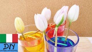 come colorare i fiori fai da te | Tulipani tinti con coloranti alimentari