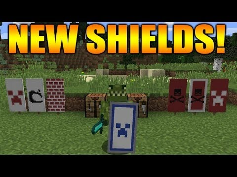 Minecraft 1.9 Tutorial: Sheilds - Custom Designs & New Combat System Showcase!