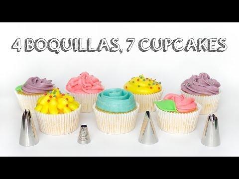 7 maneras de decorar cupcakes. con 4 boquillas