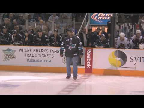 Pablo Sandoval drops the puck at the SJ Sharks game Video