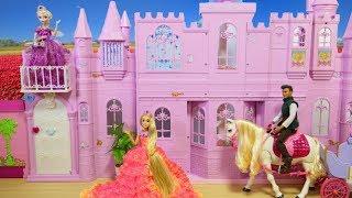 Barbie Doll Pink Castle Deluxe Dance Palace Princess Rapunzel Ariel Snow White Cinderella Elsa
