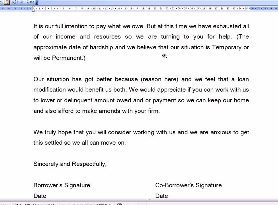 Sample Hardship Letter For Loan Modification